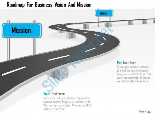 Roadmap For Business Vision And Mission Powerpoint Template ...