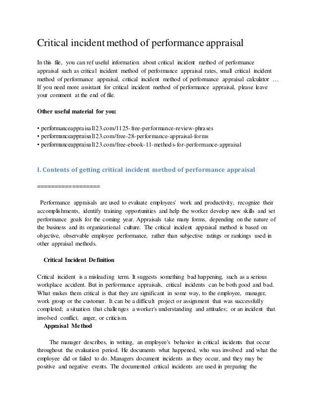 critical incident method of performance appraisal 1 638 - Example Of Critical Appraisal Essay
