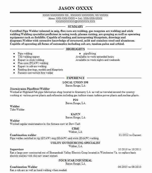 Best Pipefitter Resume Example | LiveCareer
