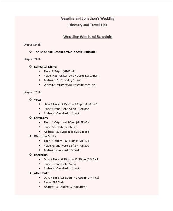 7+ Wedding Itinerary Template - Free Sample, Example, Format ...