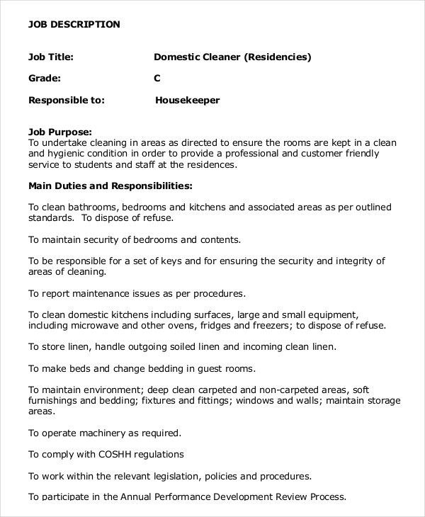 Housekeeper Job Description Example - 14+ Free Word, PDF Documents ...