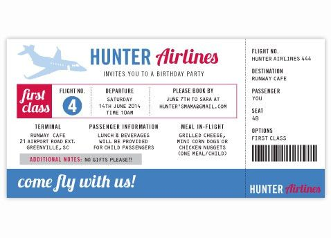 Airplane Ticket Birthday Party Invitation |