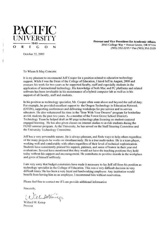 Letter Of Recommendation For College Student | Free Resumes Tips