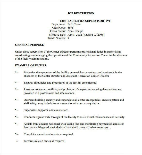 10+ Supervisor Job Description Templates – Free Sample, Example ...