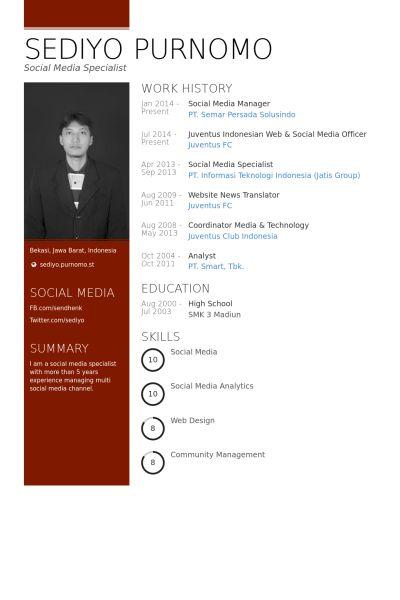 Social Media Manager Resume samples - VisualCV resume samples database