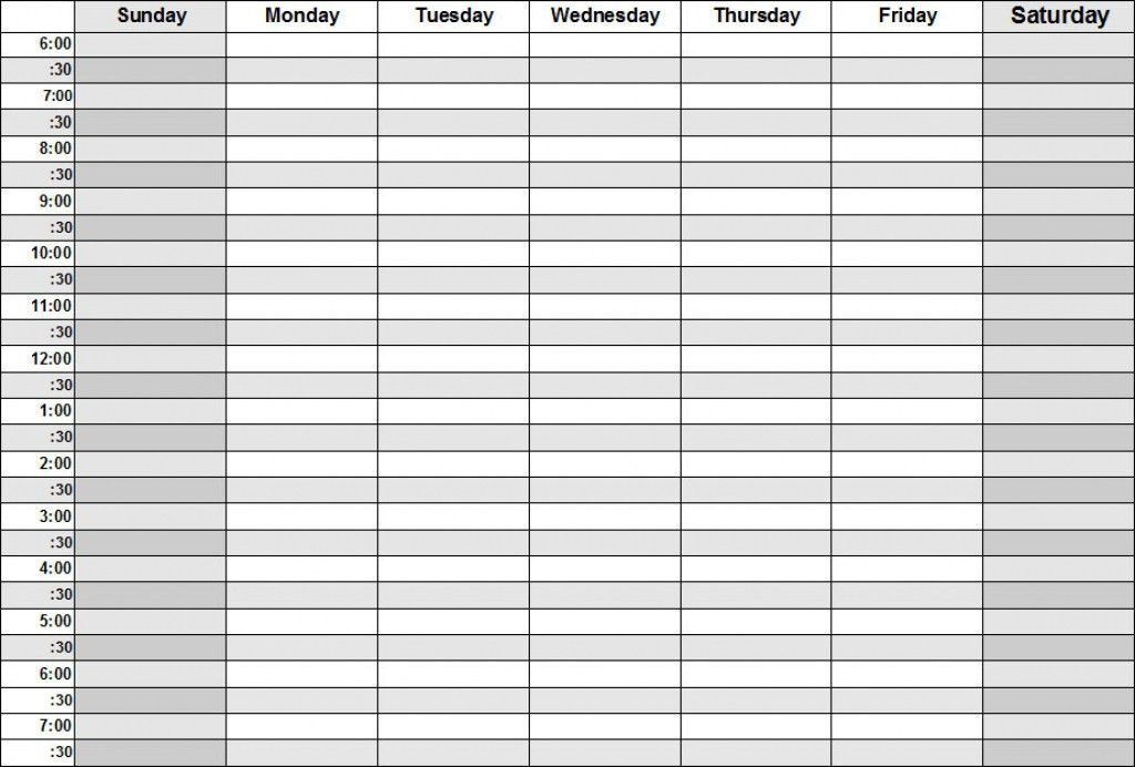 printable weekly calendar with times | Printable Online Calendar