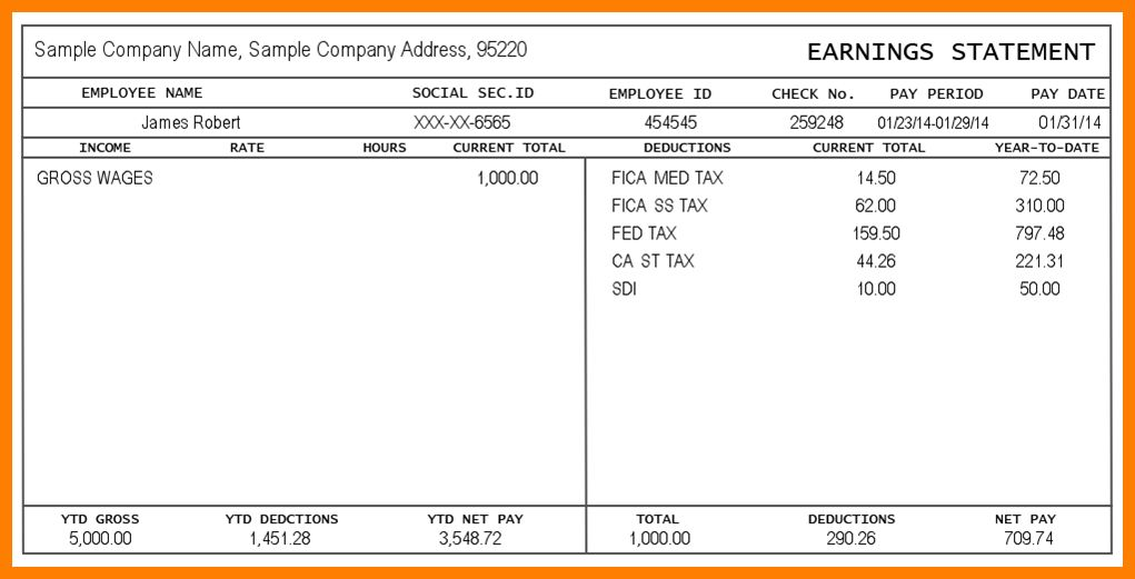 4+ free pay stub template | cv sample format