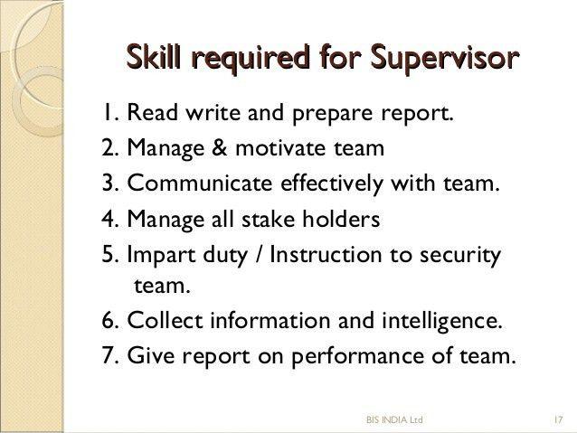 SOP of Security supervisor
