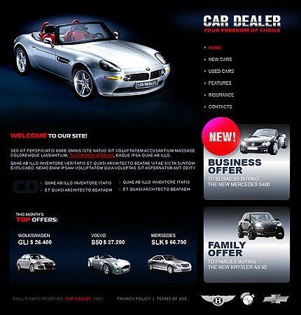 Automotive Dealer Flash Templates, Automotive Dealer Website Flash ...