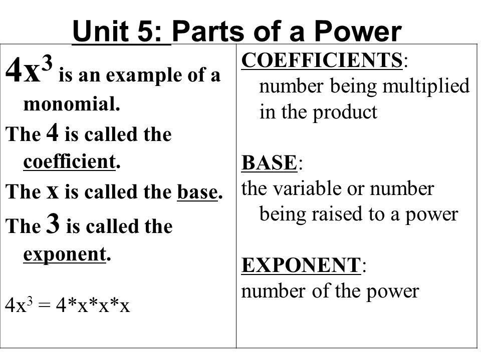 Unit 5: Parts of a Power 4x 3 is an example of a monomial. The 4 ...