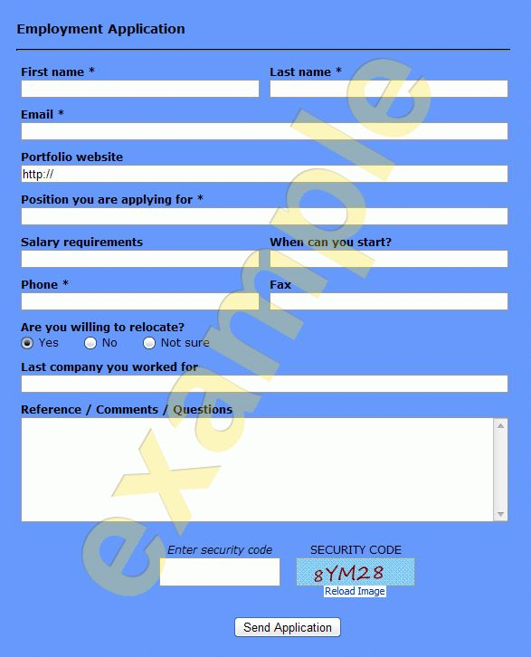 Ready-to-use Employment Application form