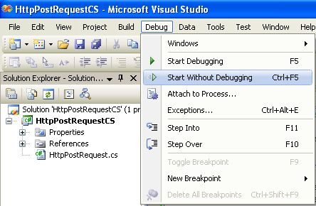 The C# Http post request program example used to demonstrate the ...