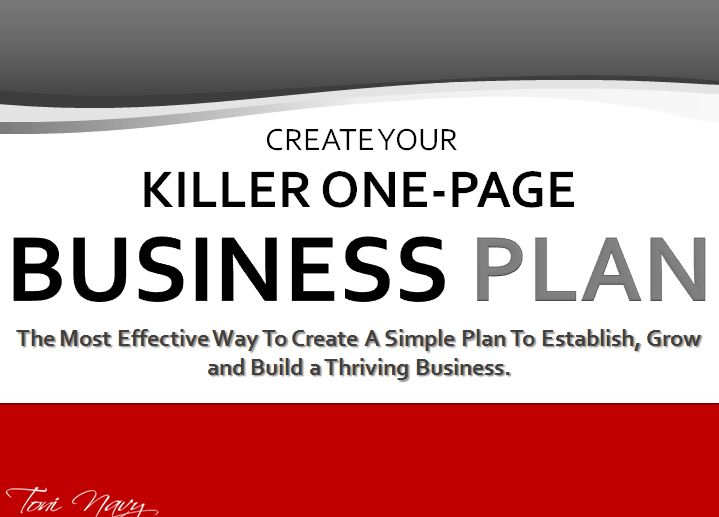 Killer One Page Business Plan