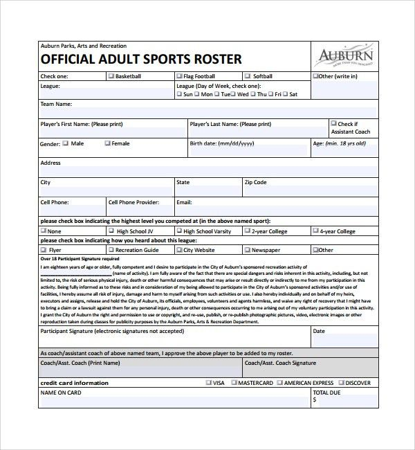 Sample Sports Roster Template - 7+ Free Documents Download in PDF ...