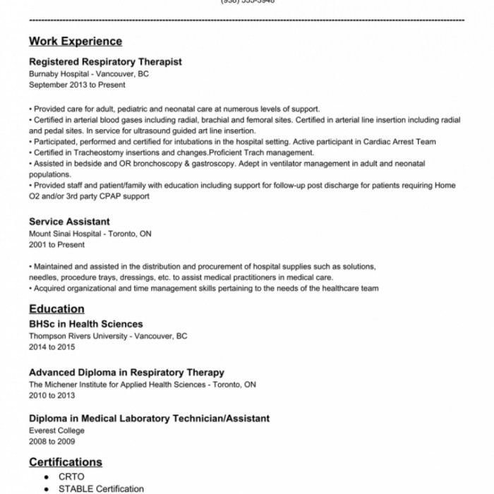 The Most Awesome Entry Level Respiratory Therapist Resume | Resume ...
