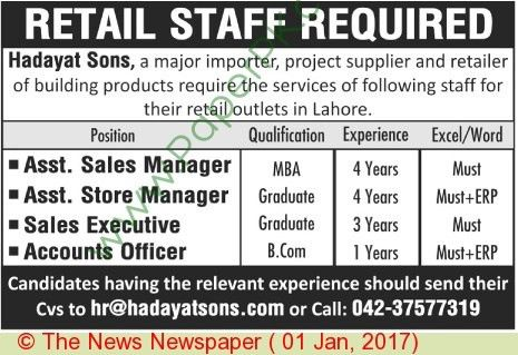 Assistant Sales Manager Jobs In Lahore on 01 January, 2017 ...