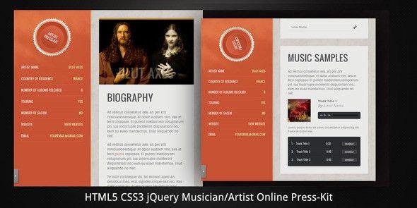 Musician/Artist HTML5 Online Press-Kit by virtuti | ThemeForest