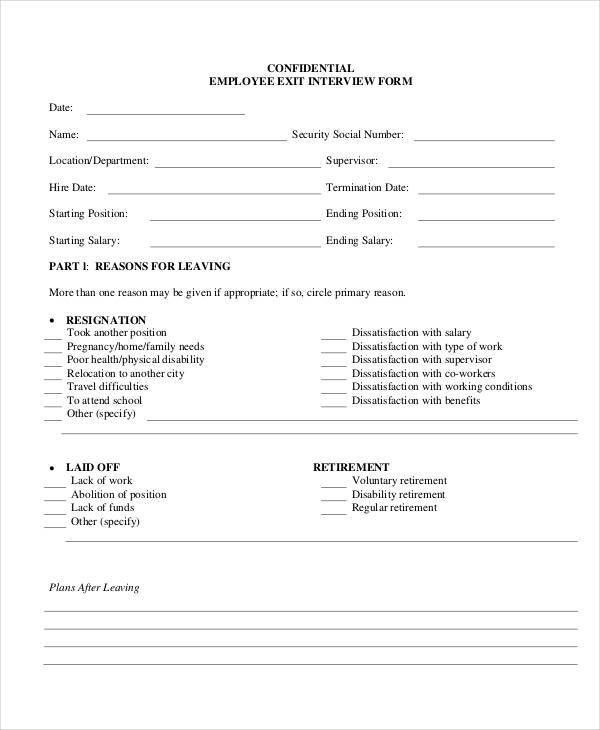 Exit Interview Form - 9+ Free PDF, Word Documents Download | Free ...