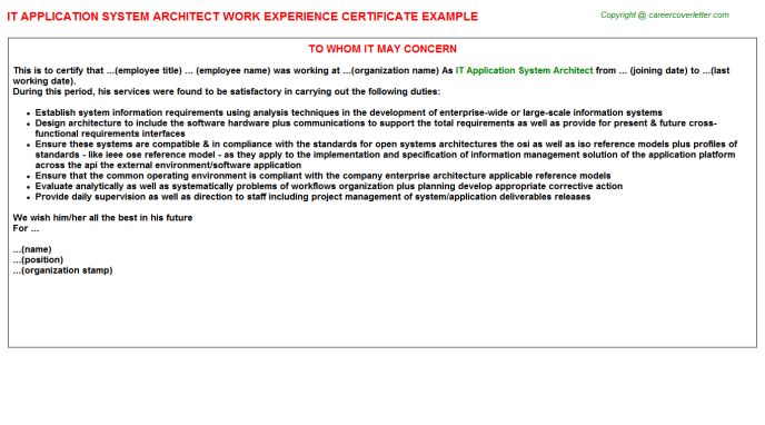 IT Application System Architect Job Title Docs