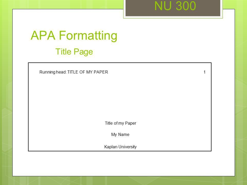 NU 300 Unit 3 Seminar APA Formatting - ppt video online download