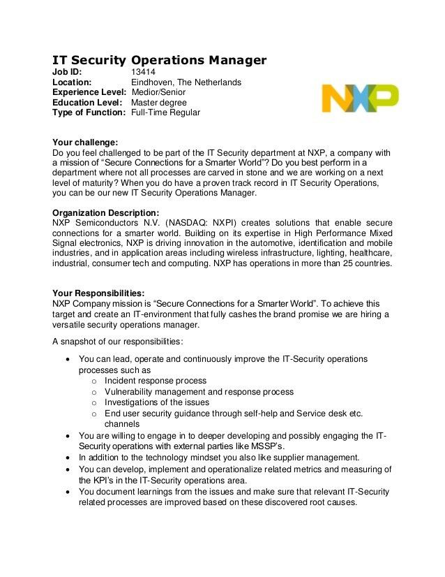 Job profile it security operations manager copy