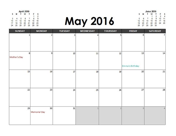 2016 Excel Calendar Planner - Free Printable Templates