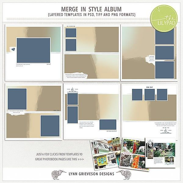 Merge in Style digital scrapbooking template album by Lynn Grieveson
