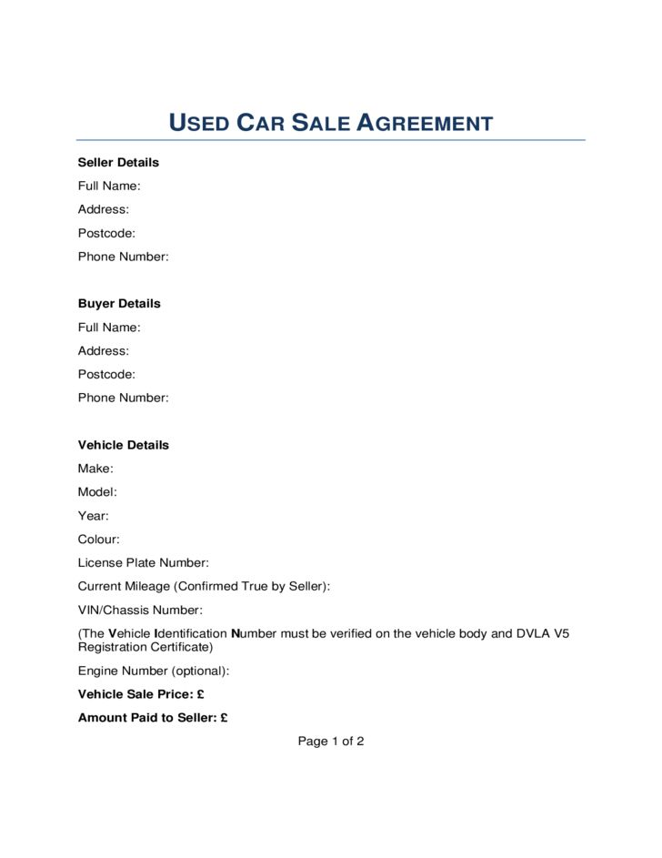Car Sale Contract Form - London Free Download