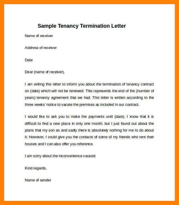 letter to vacate premises