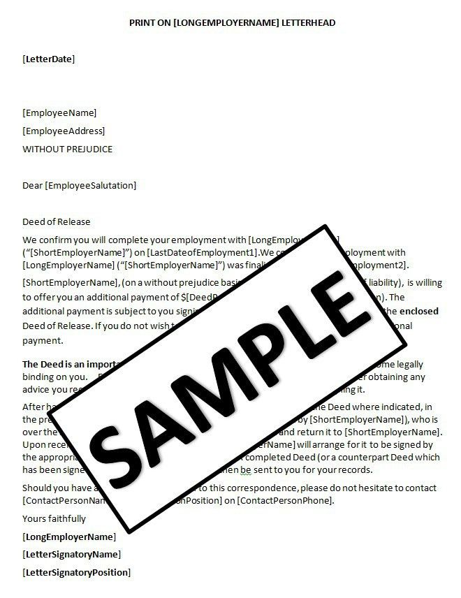HR Advance | Letter Enclosing Deed of Release