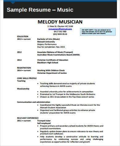 Sample Music Resume   7+ Examples In Word, PDF