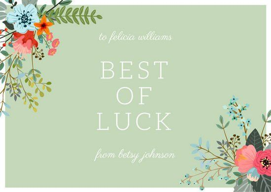 Mint Green & White Floral Good Luck Card - Templates by Canva
