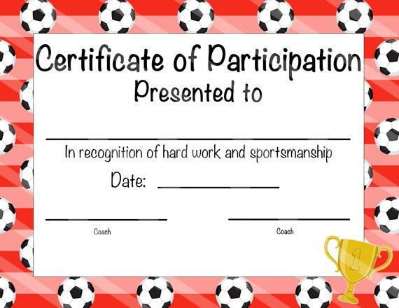 Soccer Certificate of Achievement Soccer by NanasPartyPrintables ...
