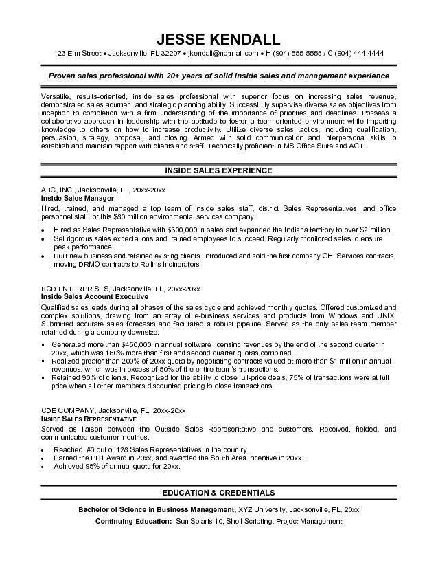 Inside Sales Sample Resume - Gallery Creawizard.com