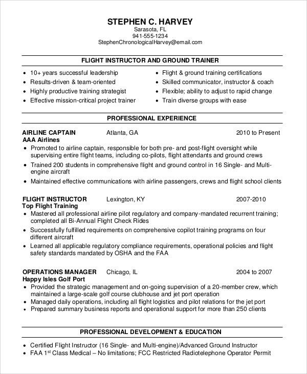 Sample Flight Attendant Resume - 6+ Examples in PDF, Word