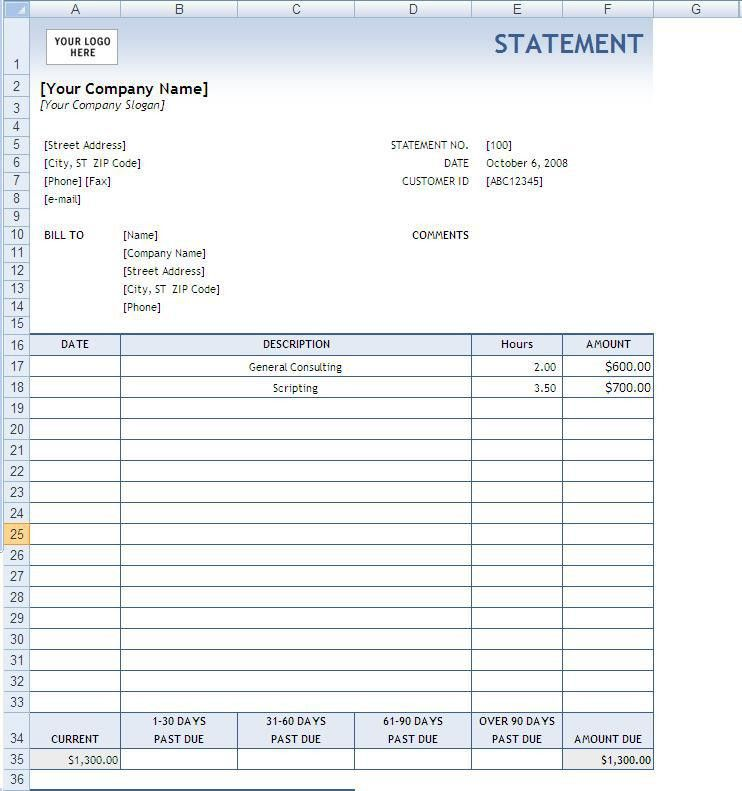 10 Best Images of Business Billing Statement Forms Free - Billing ...