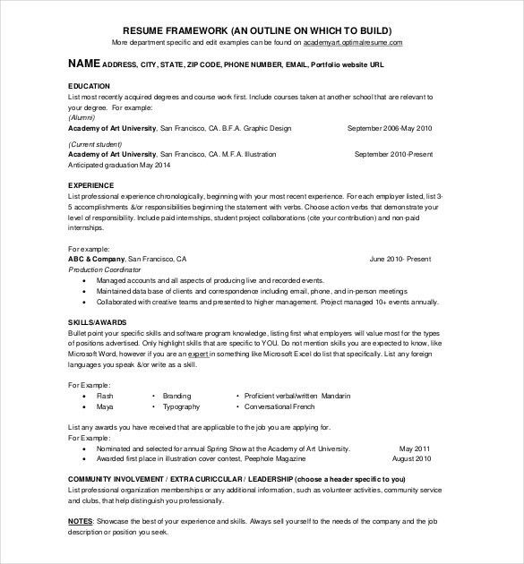 One Page Resume Examples - Resume Example