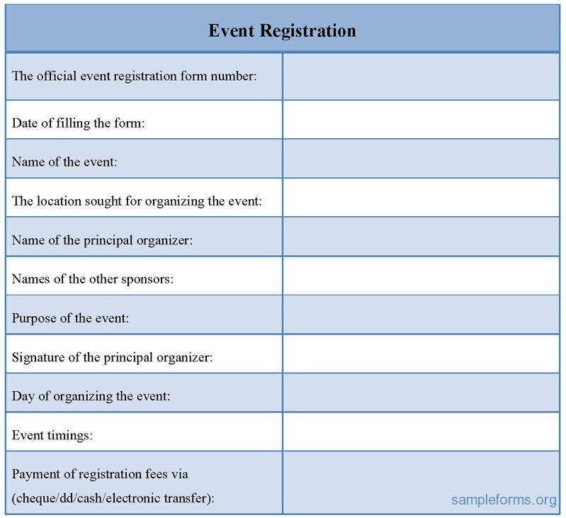 Event Registration Form, Sample Event Registration Form | Sample Forms
