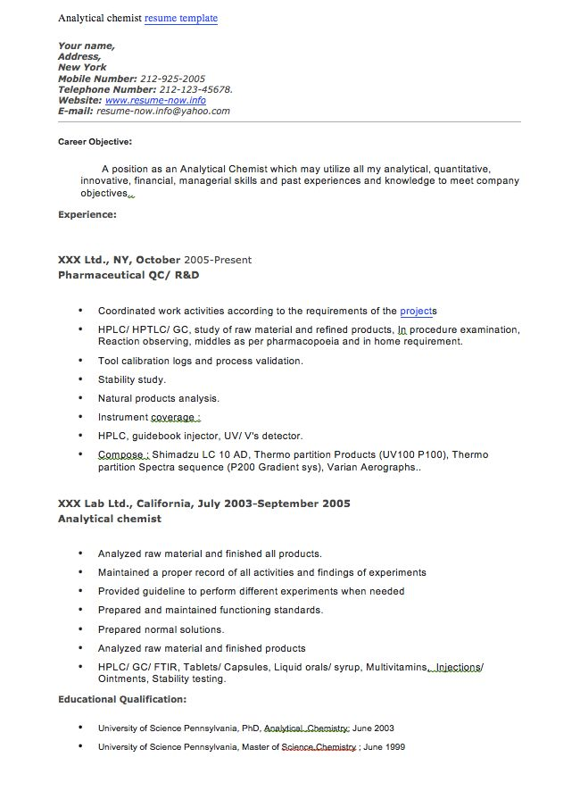 Chemist Resume Free Entry Level Chemist Resume Template Resumenow - plant chemist resume
