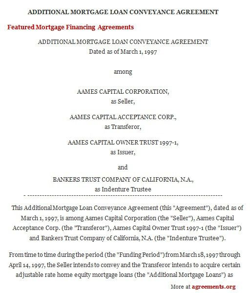 Mortgage Financing Agreement, Sample Mortgage Financing Agreement ...