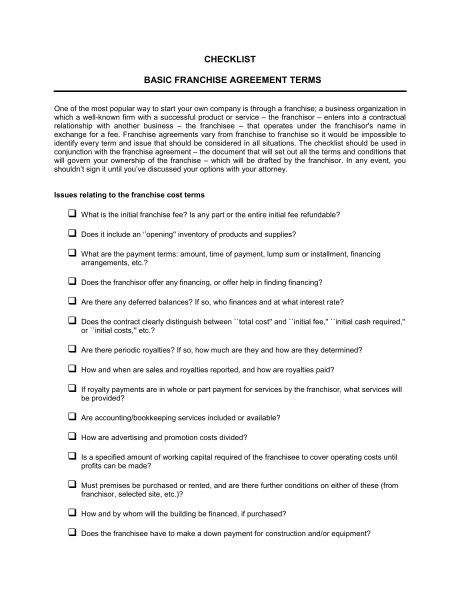 Checklist Basic Franchise Agreement Terms - Template & Sample Form ...