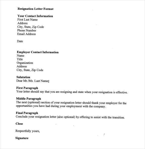 Resignation Letter Format | The Letter Sample