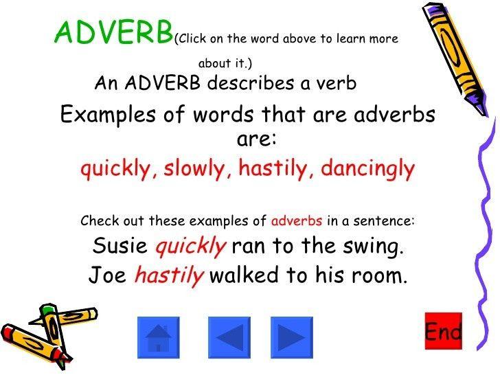 Adjectives, Nouns, Verbs,
