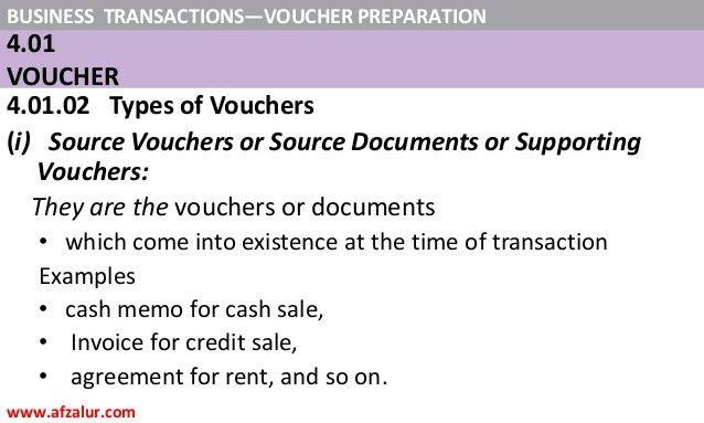 Business Transactions: - Voucher Preparation