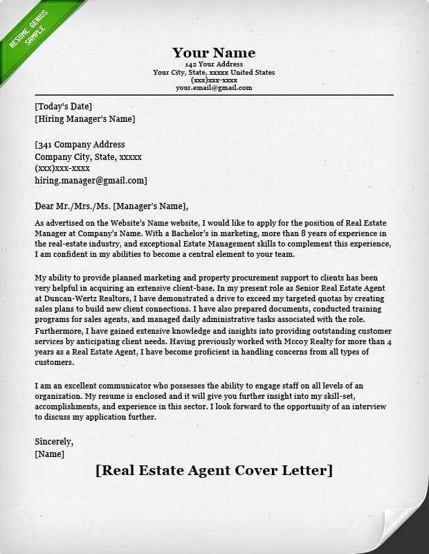 Real Estate Agent Cover Letter | Resume Genius