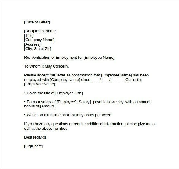 Employment Verification Letter For Visa | The Letter Sample