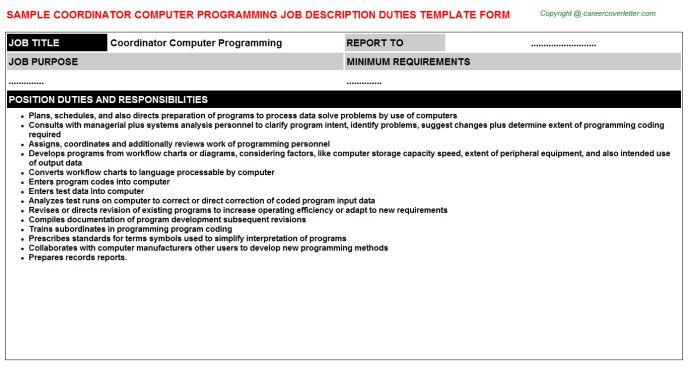Coordinator Computer Programming Job Description