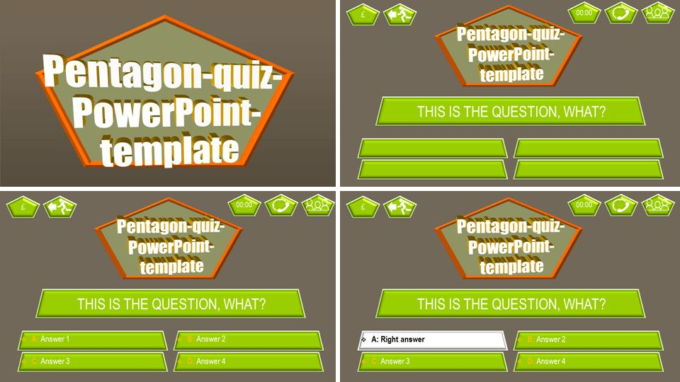 PowerPoint quiz template pentagon | PPT Themes