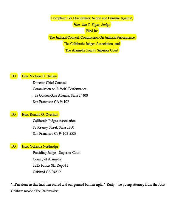 Tigar Employed The Judicial Council, Alameda County Superior Court ...