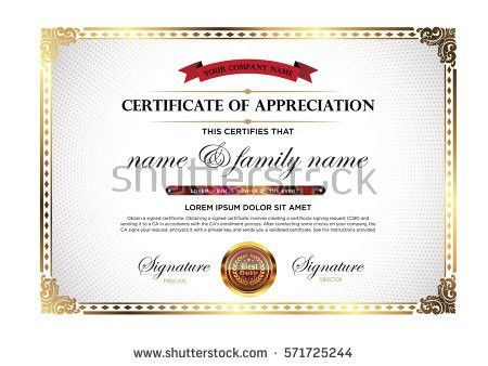 Layout Text Format Certification Certificates That Stock Vector ...